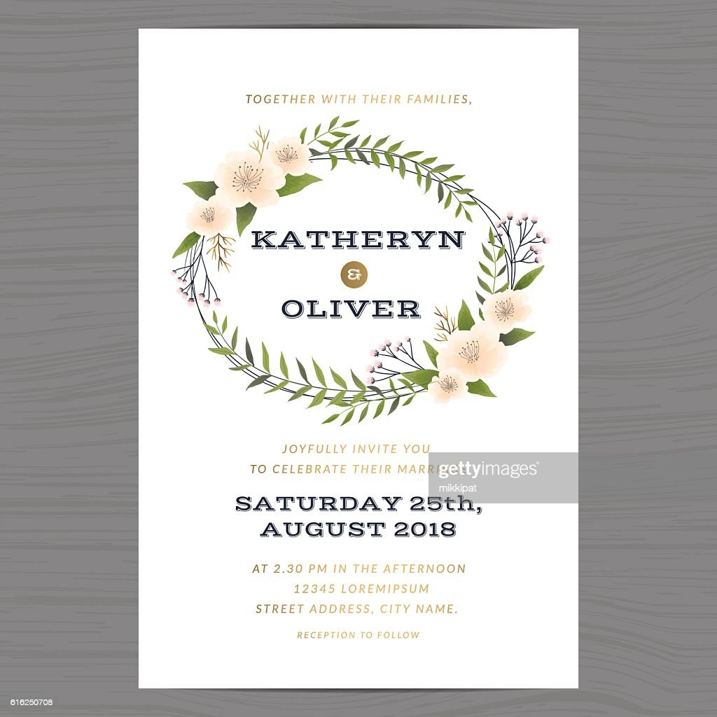 Wedding invitation card template with flower floral leaf background. : Vector Art