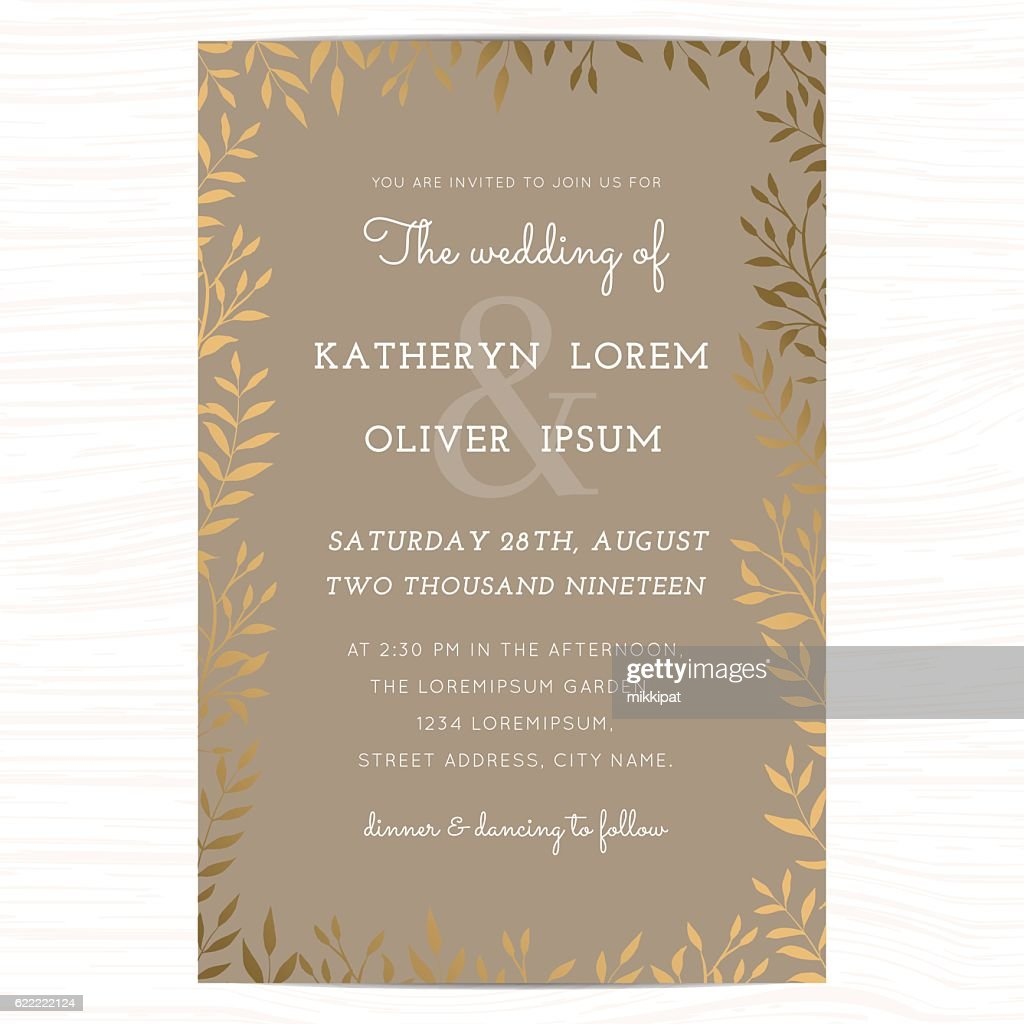 Wedding invitation card template with golden flower floral leaf.