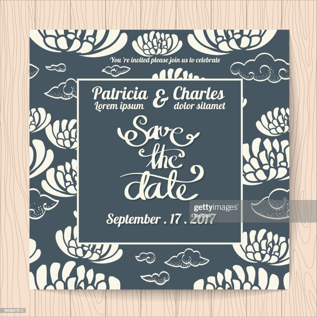 Wedding Invitation Card Templates Japanese Style High-Res Vector