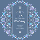 Wedding Invitation card templates with gold patterned and crystals on paper color Background.