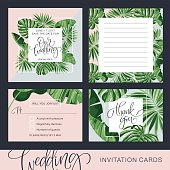 Wedding Invitation Card. Tropical Background. Banana. Save the Date. Vector Template. RSVP.