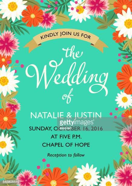 wedding invitation card - western script stock illustrations