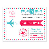 Wedding Invitation Card - Vintage Postcard Airmail Theme