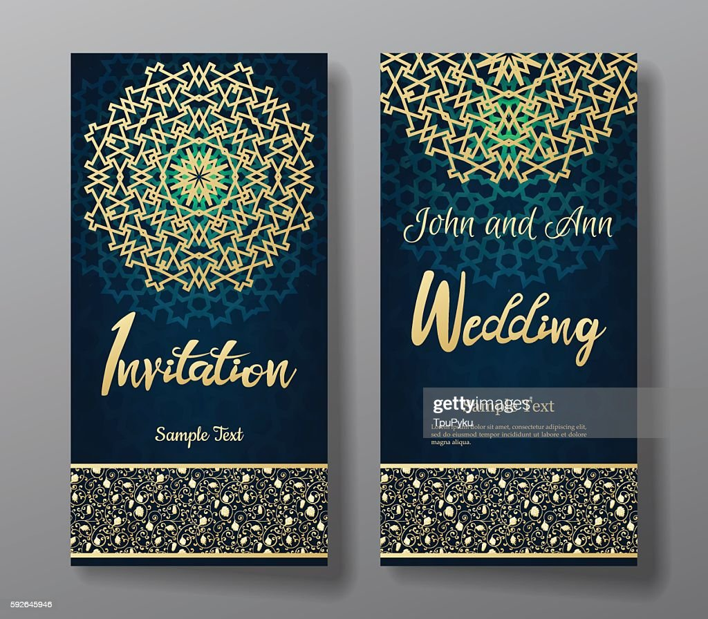 Wedding invitation card with arabic mandala background.