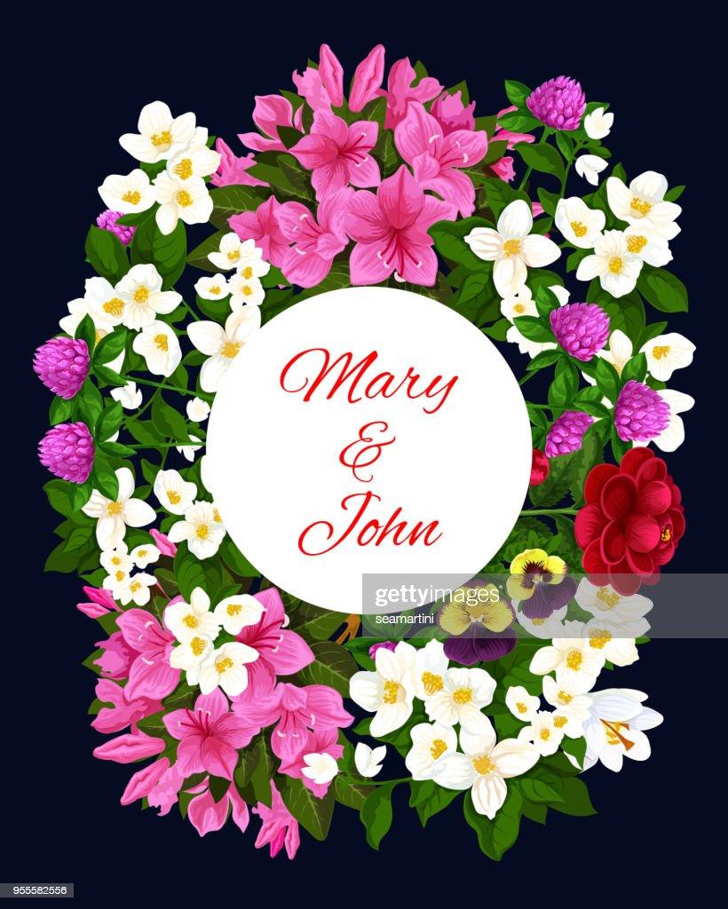 Wedding invitation card with flower frame design