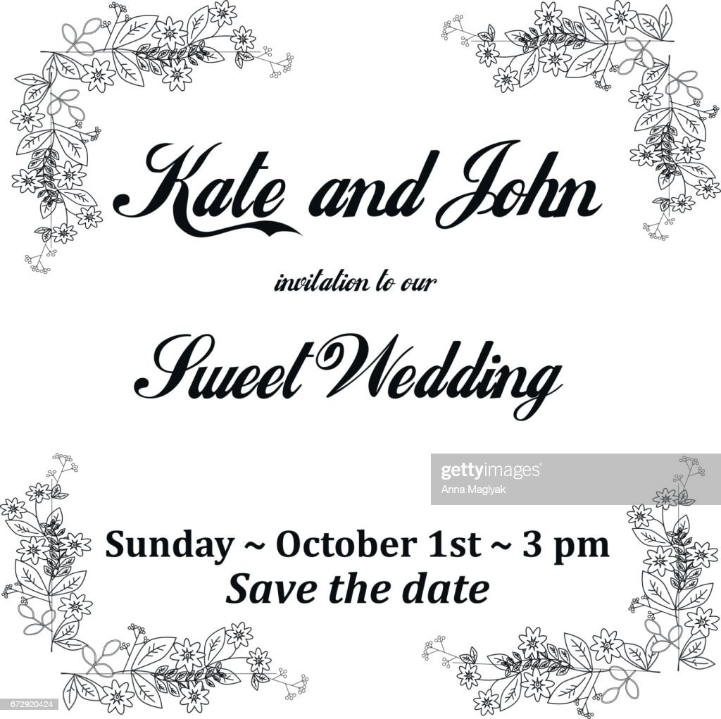 Wedding Invitation Card With Flowers Frame For Holidays Black And ...
