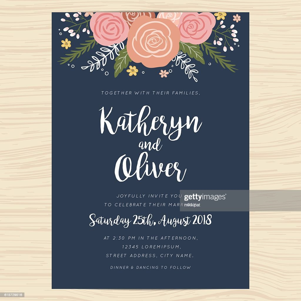 Wedding invitation card with hand drawn wreath flower template.