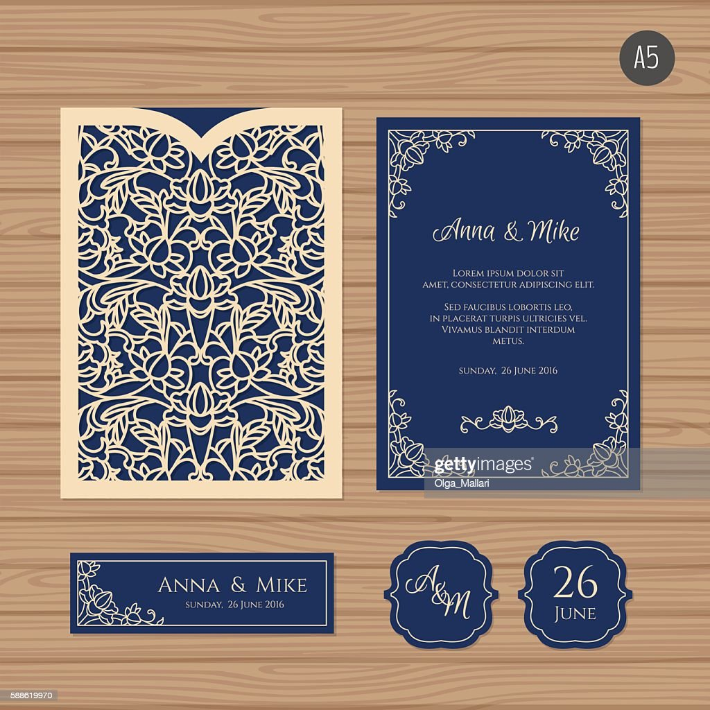 Wedding invitation card with laser cut envelope.