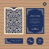 Wedding invitation card with laser cut envelope.
