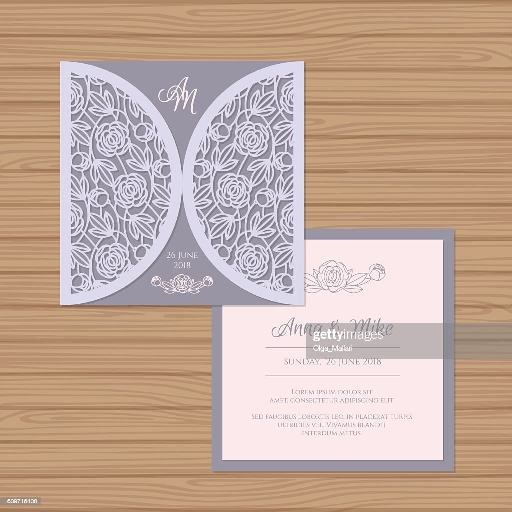 Wedding invitation card with laser cut envelope vector art getty wedding invitation card with laser cut envelope vector art stopboris Choice Image