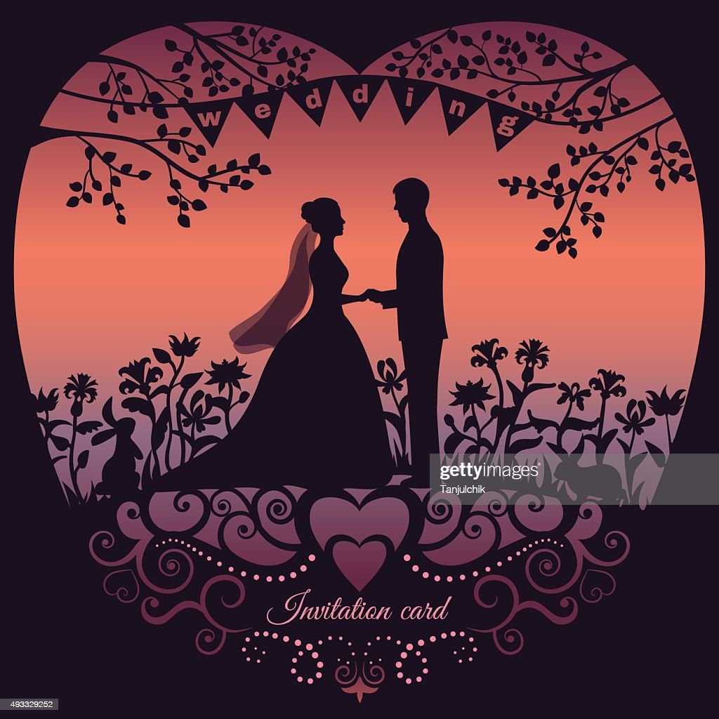 Wedding invitation card with silhouette bride and groom