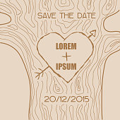 Wedding Invitation Card - Wooden Carved Heart Theme