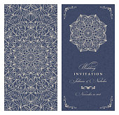 Wedding invitation cards Eastern style blue and deige. Arabic  Pattern. Mandala ornament. Frame with flowers elements.