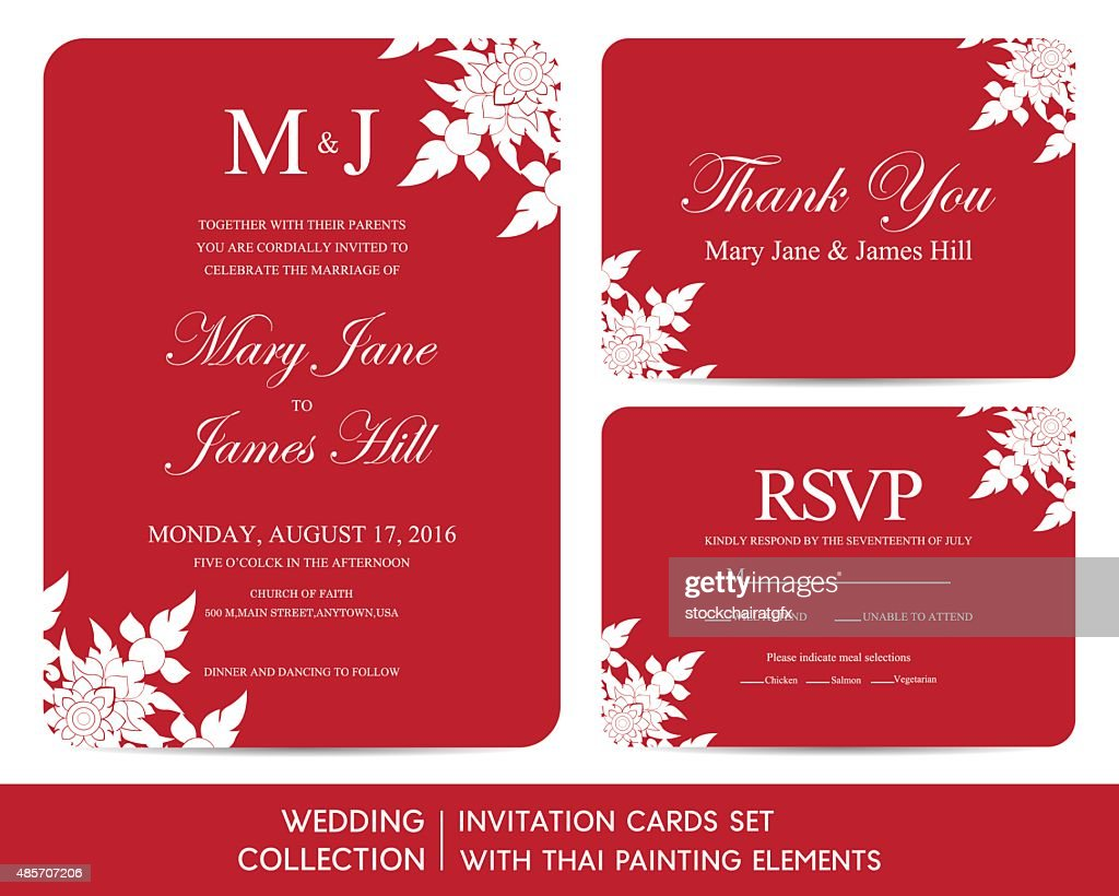 Wedding Invitation Cards Set With Thai Painting Elements Vector Art ...