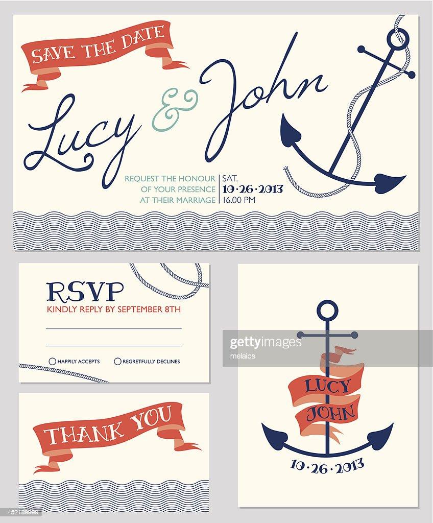 Wedding invitation cards template, anchor