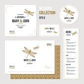 Wedding invitation design collection. Wedding identity. Vector illustration