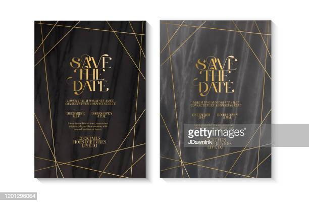 wedding invitation design template set with save the date typography design on marble texture with gold line art - jdawnink stock illustrations