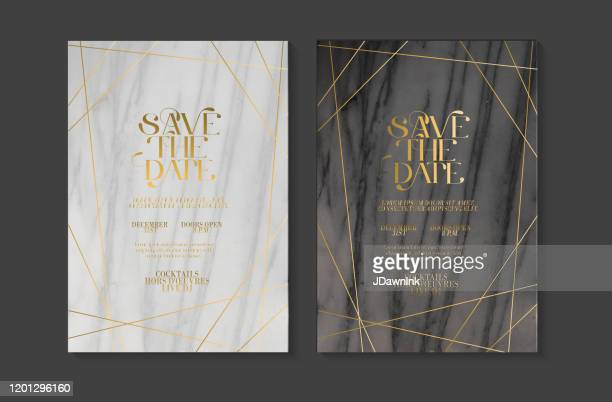 wedding invitation design template set with save the date typography design on marble texture with gold line art - invitation stock illustrations