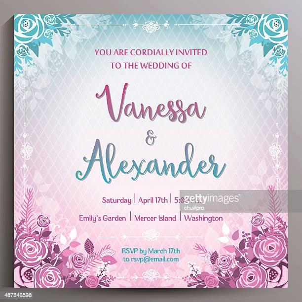 結婚式の招待状します。のスクエアカード 14 .5 cm - purple roses bouquet点のイラスト素材/クリップアート素材/マンガ素材/アイコン素材