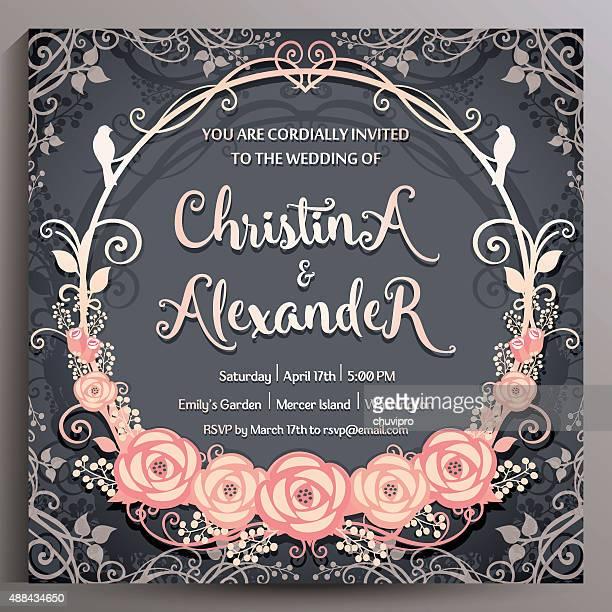 wedding invitation. floral square card 14.5 cm - purple roses bouquet stock illustrations