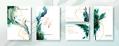 Wedding invitation frame set, flowers, leaves, mess and watercolor minimal vector.