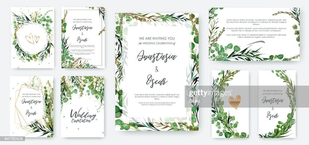Wedding invitation frame set; flowers, leaves solated on white.