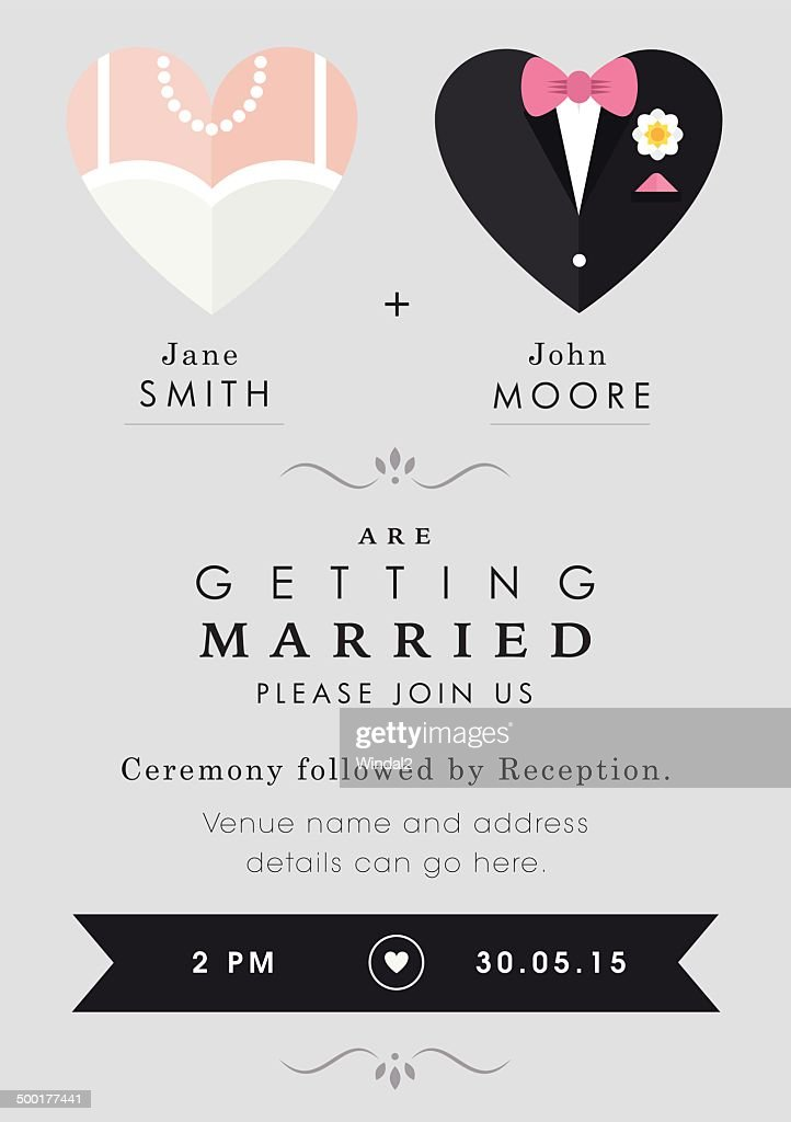 Wedding invitation heart theme