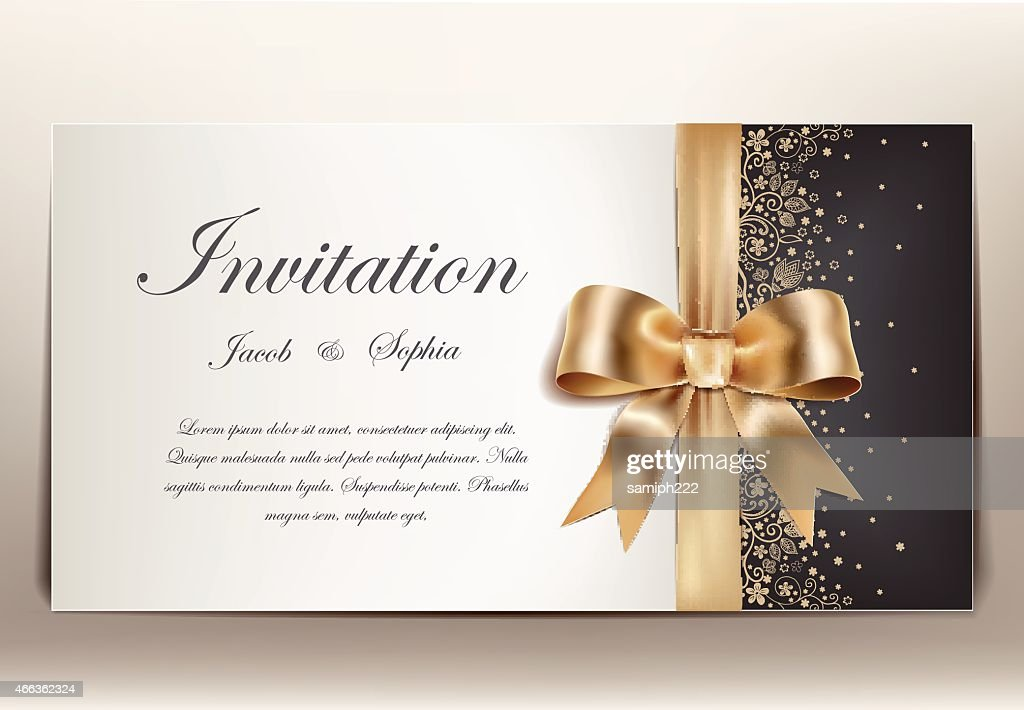 Wedding invitation in gold black and white theme