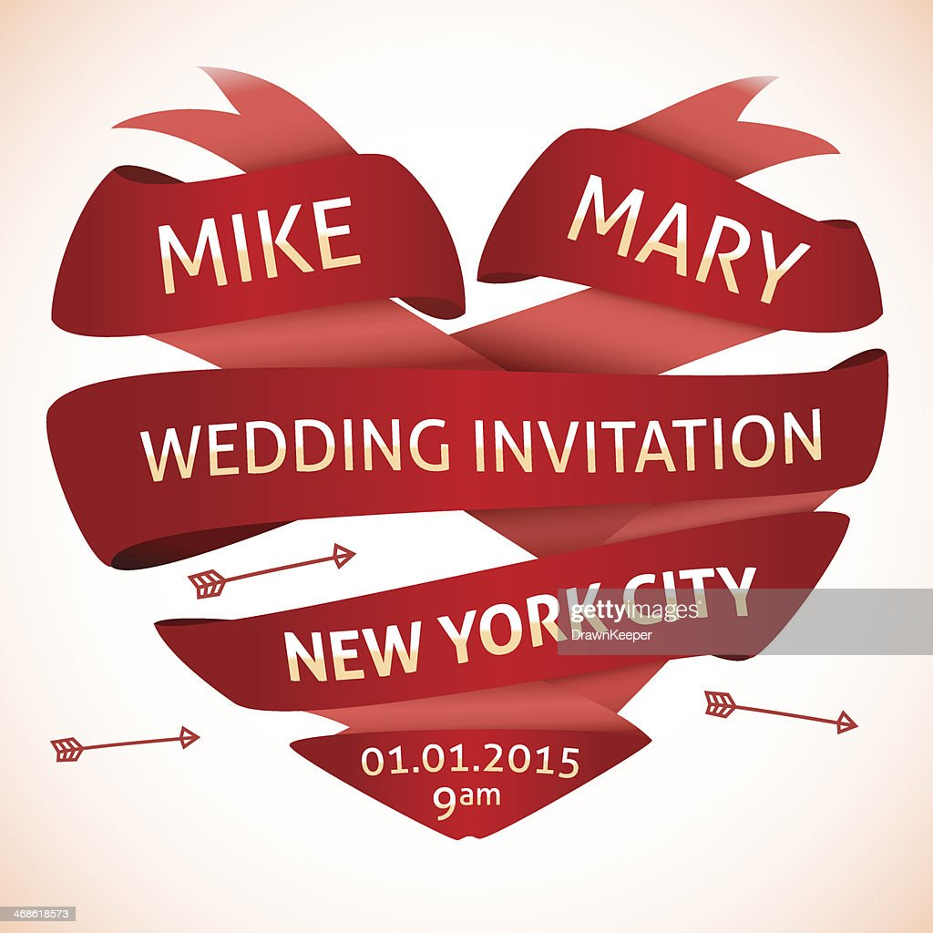 Wedding invitation in the shape of heart