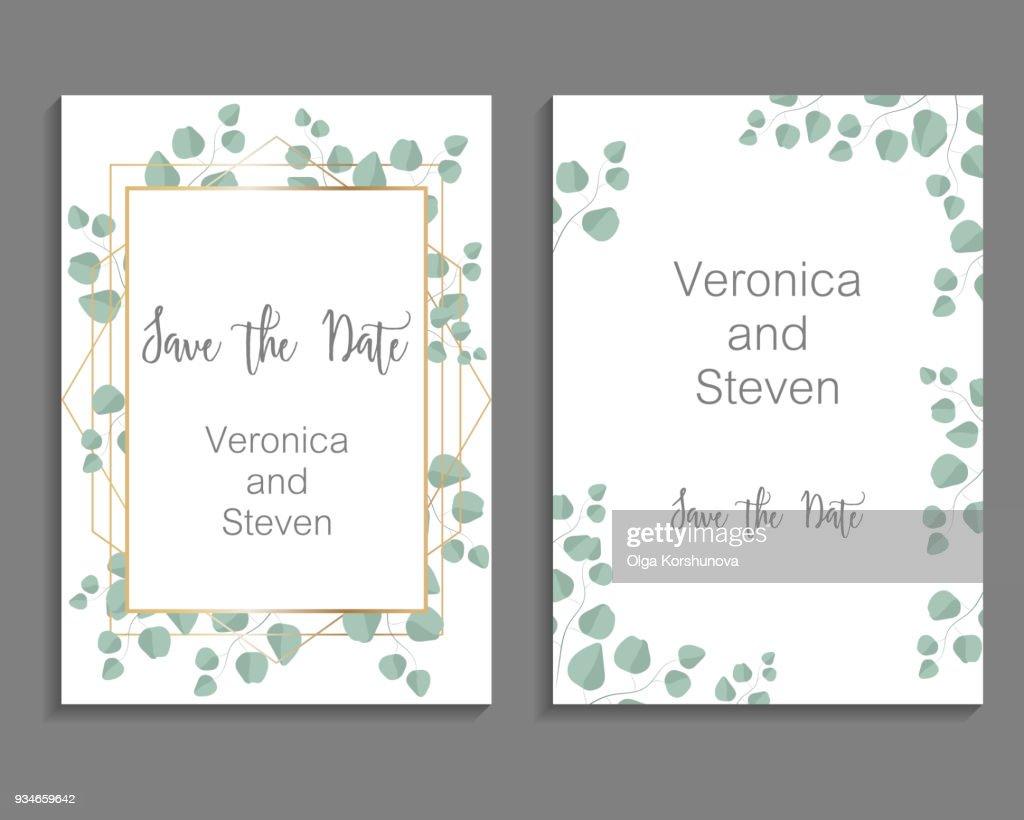 Wedding Invitation, leaves invite card. Design with eucalyptus branch