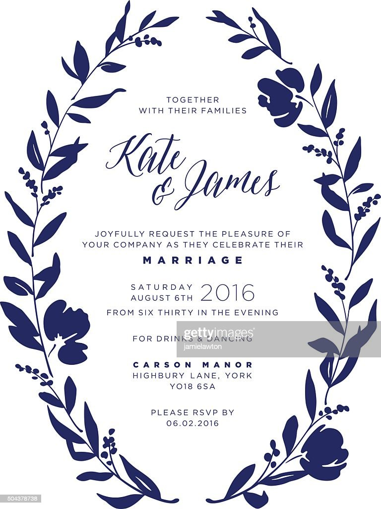 Wedding Invitation - Navy Floral Wreath : Vector Art