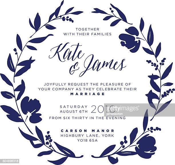 ilustraciones, imágenes clip art, dibujos animados e iconos de stock de invitación de boda-navy floral corona - azul marino