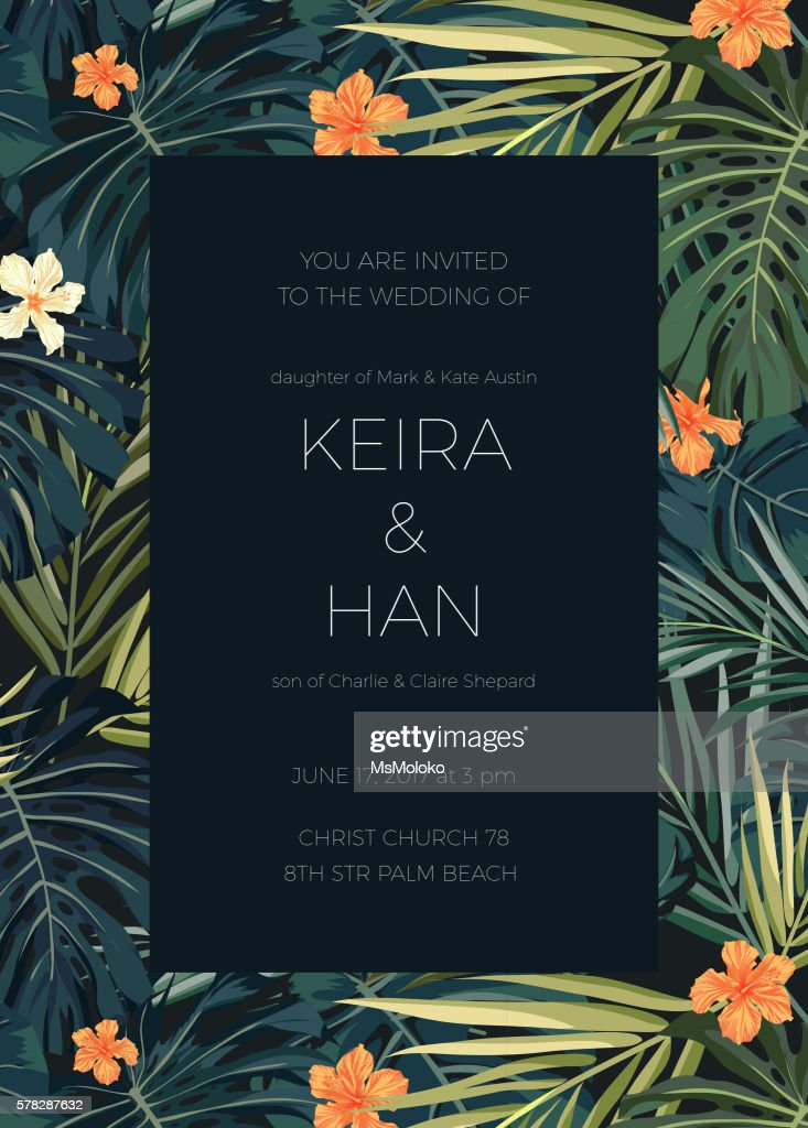Wedding invitation or card design with exotic tropical flowers and