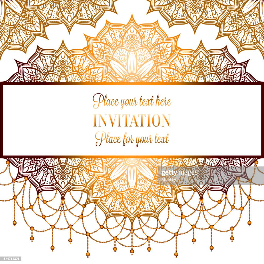 Wedding Invitation Or Card Intricate Mandala With Beads On White ...