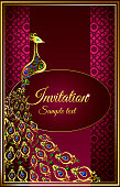 Wedding invitation or card with a peacock gem stones on abstract background. Islam, Arabic, Indian, Dubai decoration with pattern