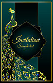 Wedding invitation or card with a peacock jeweled on abstract background. Islam, Arabic, Indian, Dubai decoration with pattern
