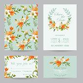 Wedding Invitation or Congratulation Card Set Autumn Lily Floral Theme