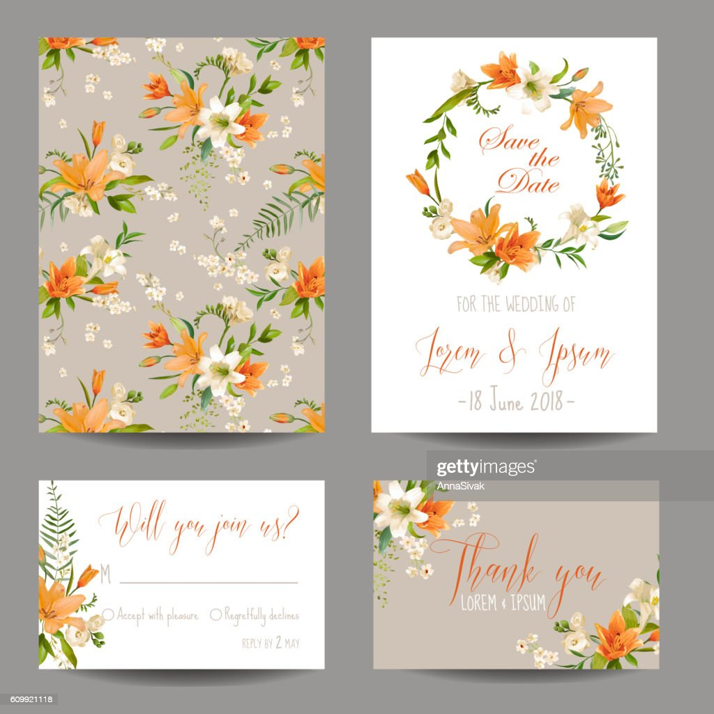 Wedding Invitation or Congratulation Card Set Autumn Lily Floral Theme