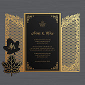 Wedding invitation or greeting card with the gate and ivy. Paper lace envelope template. Wedding invitation envelope mock-up for laser cutting. Vector illustration.