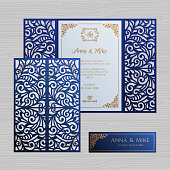 Wedding invitation or greeting card with vintage ornament. Paper lace envelope template. Wedding invitation envelope mock-up for laser cutting. Vector illustration.