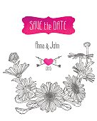 "Wedding invitation ""save the date"" template with chamomile flowe"