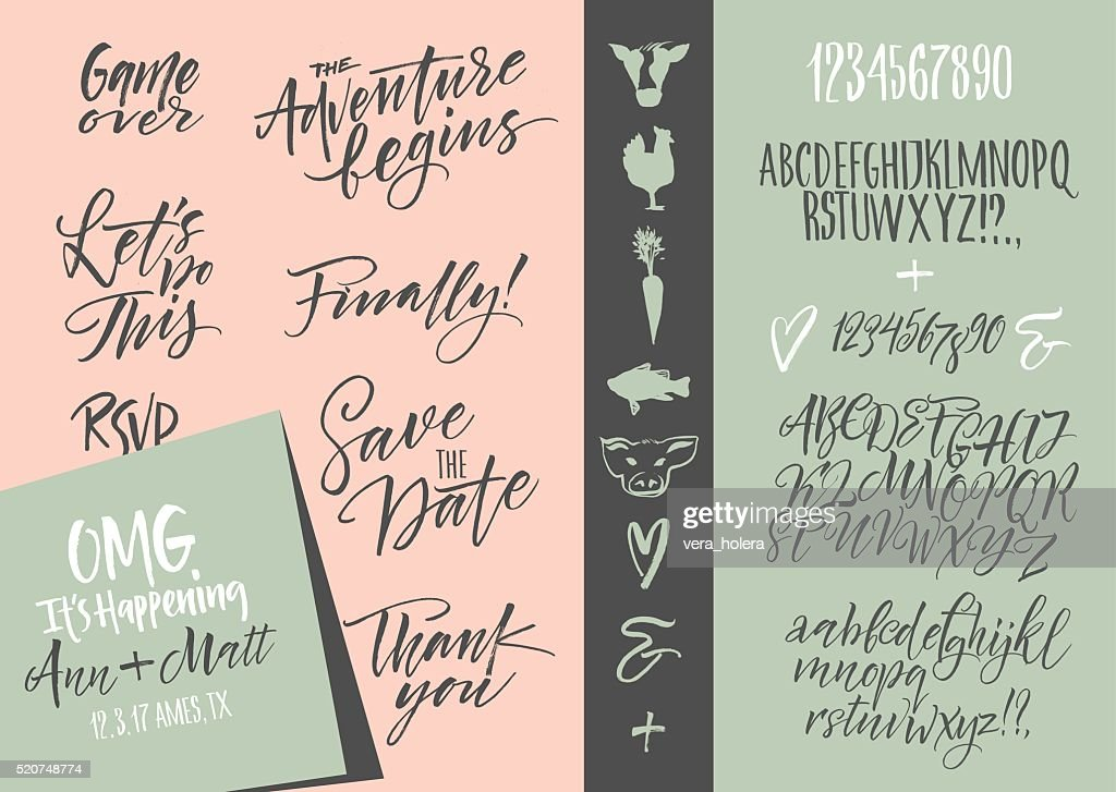 Wedding invitation set & Vector alphabets