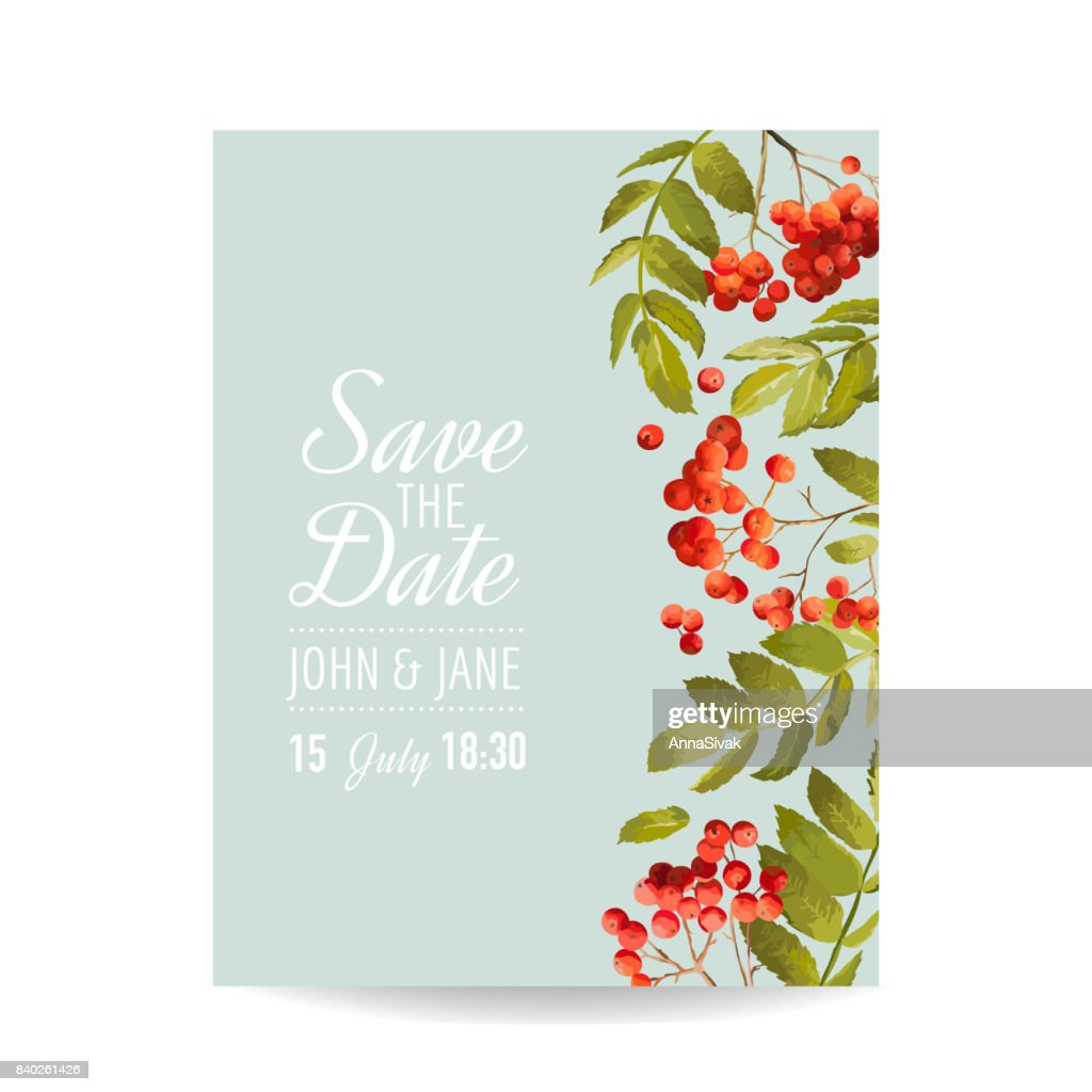 Wedding Invitation Template Floral Greeting Card With Rowan Berry
