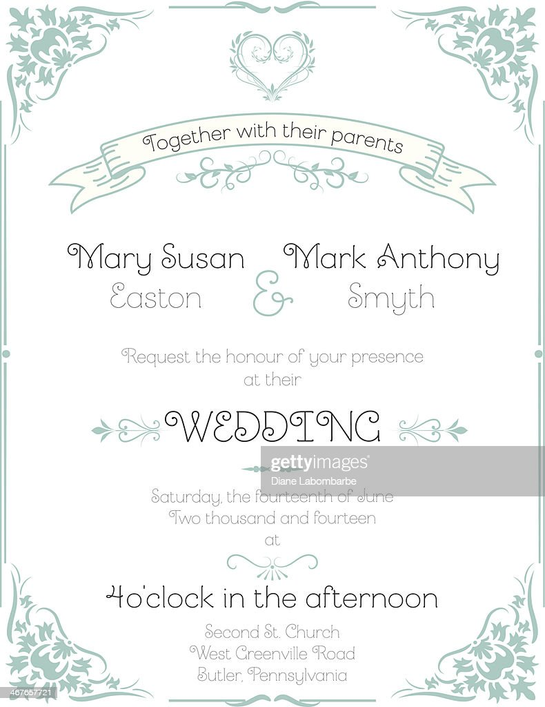 Wedding Invitation Template On Wood Background Vector Art   Getty Images