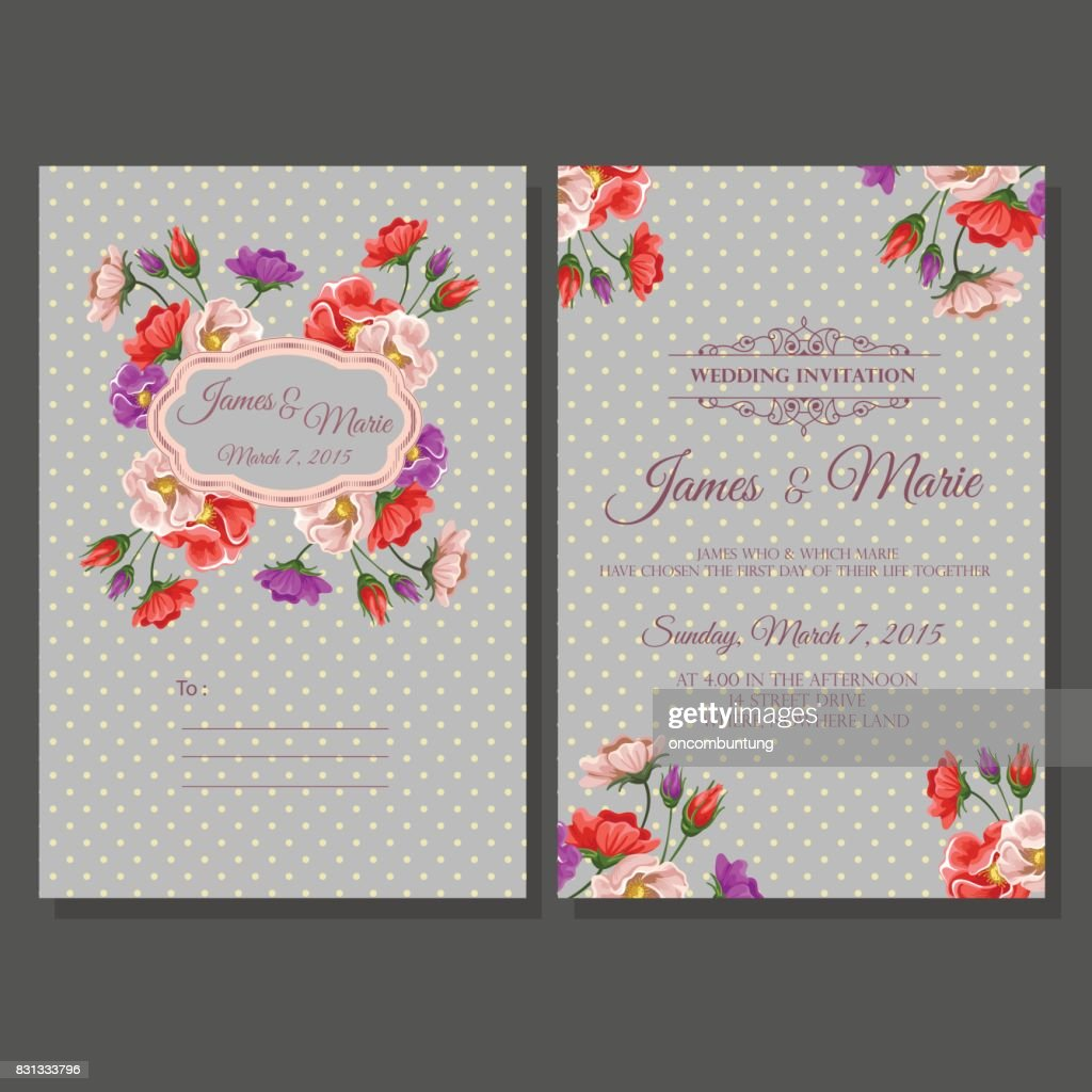 wedding invitation template polkadot vector art getty images