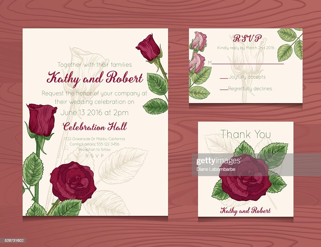 Wedding Invitation Template With Botanical Roses On Wood Background ...