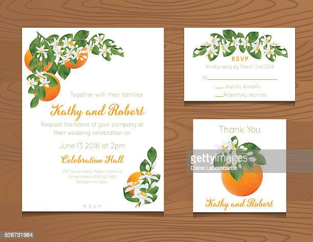 wedding invitation template with oranges on wood background - citrus fruit stock illustrations, clip art, cartoons, & icons
