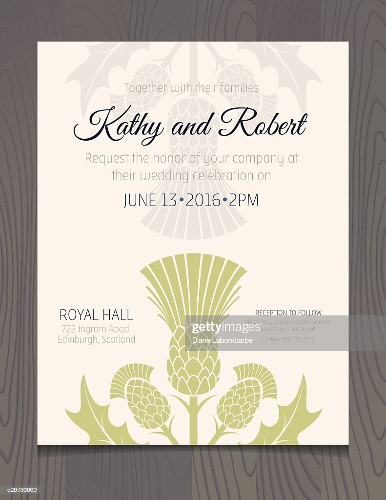 Wedding invitation template with scottish thistles on wood wedding invitation template with scottish thistles on wood background vector art stopboris Choice Image