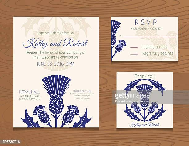 Wedding Invitation Template with Scottish Thistles On Wood Background