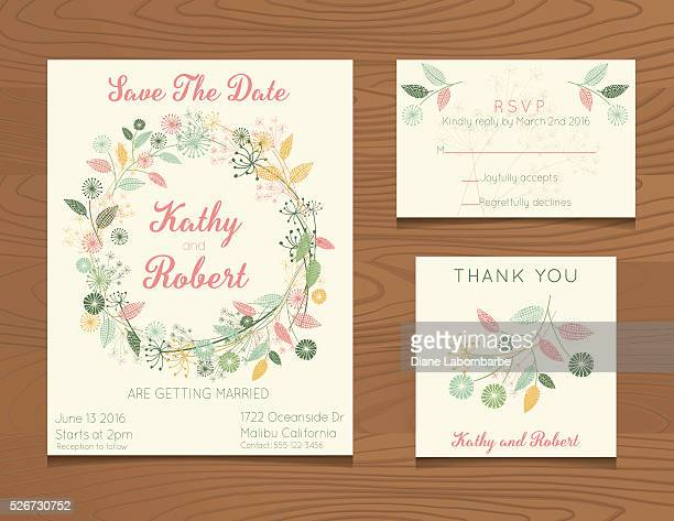 wedding invitation template with wildflowers on wood background - wedding invitation stock illustrations, clip art, cartoons, & icons